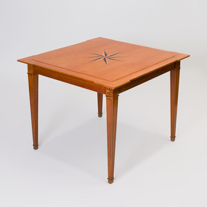 Gilt Metal-Mounted Satinwood Parquetry Games Table, in the Style of Jacques Adnet