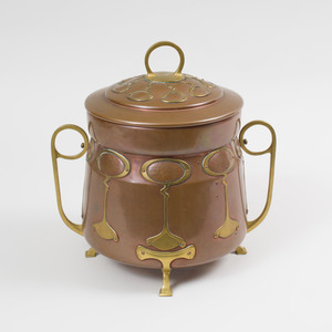Scottish Brass-Mounted Copper Two Handled Vessel and Cover, in the Style of A.W.S. Benson