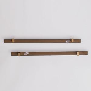 Pair of Fontana Arte Brass-Mounted Smokey Glass Towel Bars