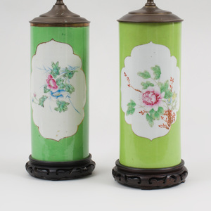 Chinese Apple Green Ground Porcelain Vases Mounted as Lamps