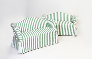 Pair of Mahogany Two Seat Banquettes with Striped Slip Covers