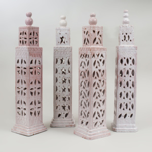 Set of Four White Glazed Terracotta Minarets