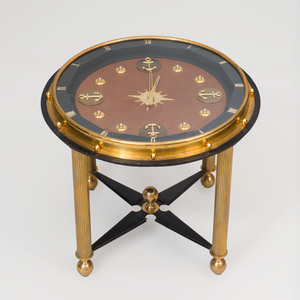 Brass and Leather Clock Low Table, in the Style of Jacques Adnet