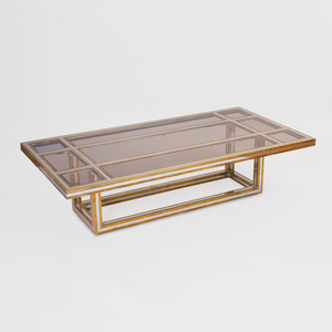 Romeo Rega Chrome, Brass and Glass Coffee Table