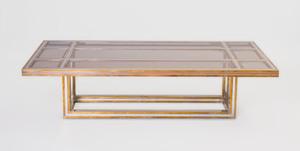 Romeo Rega Chrome, Brass and Glass Coffee Table