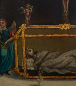 Spanish School: Crucifixion with the Relics of a Saint
