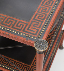 Regency Style Painted Cast-Metal Lacquer Three-Tiered Table, Manufactured by Theodore Alexander