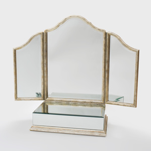 Hollywood Regency Style Silvered Giltwood Folding Dressing Mirror