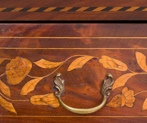 Dutch Neoclassical Mahogany and Fruitwood Floral Marquetry Bookcase