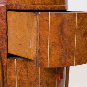 Burl Amboyna, Ivorine, and Bakelite Side Cabinet, in the Style of the Company of Master Craftsmen