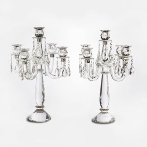 Pair of Shannon Cut Glass Five Light Candelabra