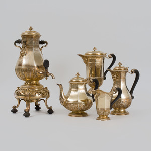 Cardeilhac Silver-Gilt Four Piece Tea and Coffee Service and a Gilt-Metal Hot Water Urn on Warming Stand