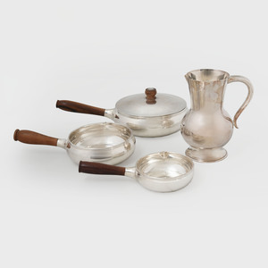 Three Puiforcat Silver Sauce Pans and a Water Pitcher