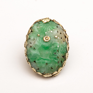 14k Gold and Carved Jade Ring