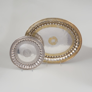 Two Indian Silver Metal and Brass Trays