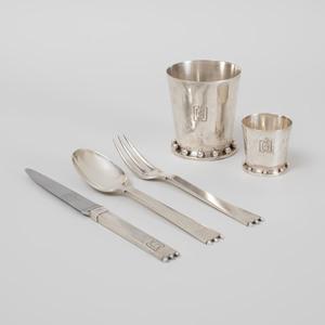 Puiforcat Art Deco Silver Five Piece Child's Set