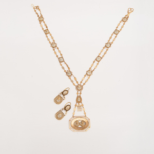 Georgian 14k Gold and Shell Cameo Necklace and Pair of Earrings