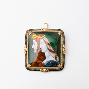 Botticelli Style 18k Gold and Limoges Style Enamel Brooch