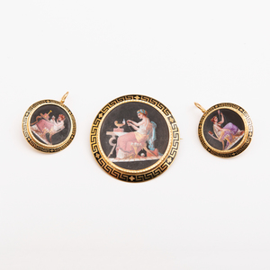 18k Gold and Enamel Brooch and Pair of Matching Earrings