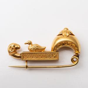 Etruscan Revival 18k Gold Fibula Pin