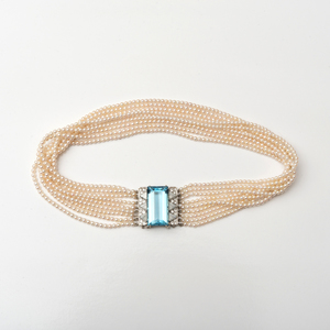 Nine Strand 18k White Gold, Aquamarine and Seed Pearl Choker Necklace