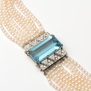 Nine Strand 18k White Gold, Aquamarine and Seed Pearl Choker Necklace