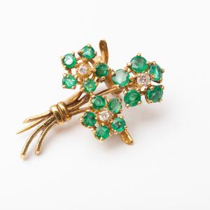 Three Vintage 14k Gold, Emerald and Diamond Flower Pins