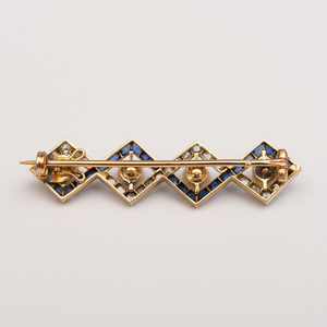 Platinum, 14k Gold, Diamond, Sapphire and Natural Pearl Bar Pin