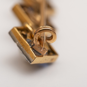 Platinum, 14k Gold, Diamond, Sapphire and Natural Pearl Bar Pin