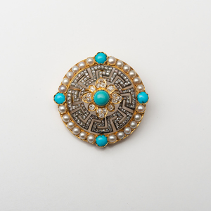 French 18k Gold, Turquoise and Diamond Brooch