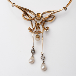 Belle Époque Diamond and Pearl Necklace