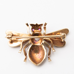 14k Gold and Seed Pearl Bee Pin