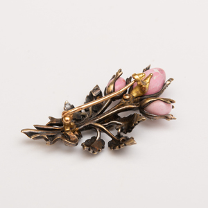 French 14k Gold, Silver, Diamond, Enamel and Conch Pearl Pin