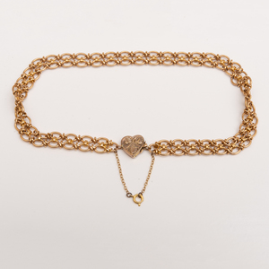 15k Gold Fancy Link Necklace with Heart Clasp