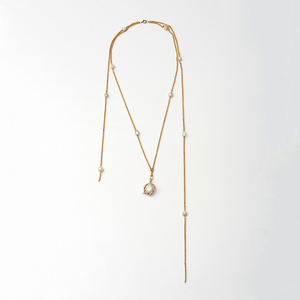 French 14k Gold and Baroque Pearl Long Chain and Pendant
