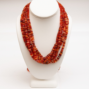 Multi-Strand Fire Opal Bead Necklace
