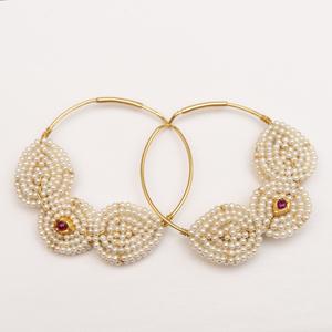 Pair of 14k Gold and Seed Pearl Hoop Earrings