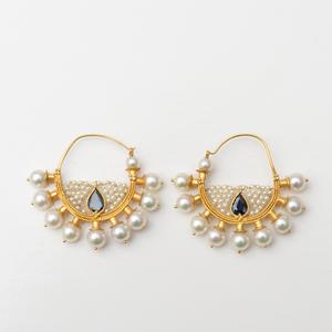 Indian 14k Gold, Pearl and Sapphire Hoop Earrings, Modern