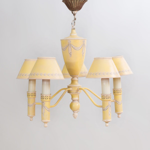 Regency Style Tôle Five Light Chandelier