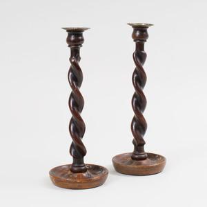 Pair of Brass-Mounted Barley Twist Candlesticks