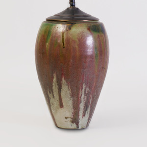 French Glazed Ceramic Vessel with Lamp Insert