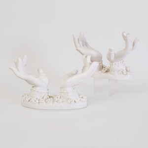 Pair of Peter Ting White Glazed Porcelain Hand Sculptures, for Contrast