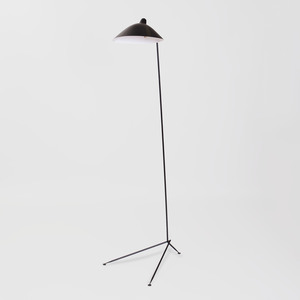 Serge Mouille Style Brass-Mounted Painted Metal Floor Lamp, of Recent Manufacture