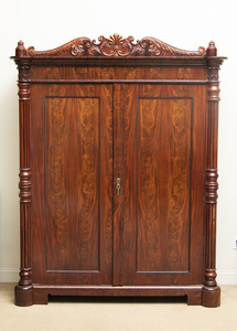 Danish Late Neoclassical Carved Mahogany Armoire