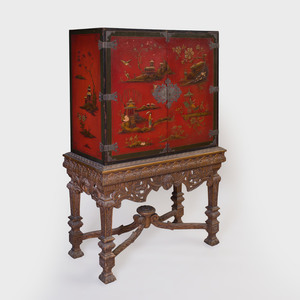 Metal-Mounted Red Lacquer and Parcel-Gilt Cabinet on a Continental Carved Wood Stand