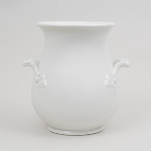 Large White Glazed Porcelain Two Handled Jar
