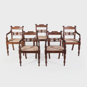 Set of Ten Anglo-Indian Carved Hardwood and Caned Dining Chairs