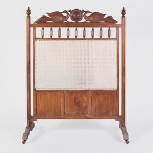 Anglo-Indian Carved Hardwood and Caned Screen
