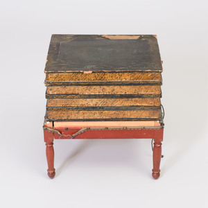 Victorian Style Leather Mounted Tromp L'Oeil Side Table
