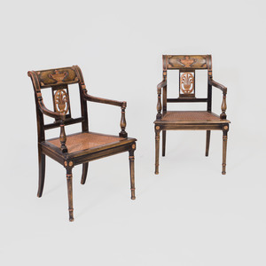 Pair of Directoire Style Black Painted and Parcel-Gilt Armchairs
